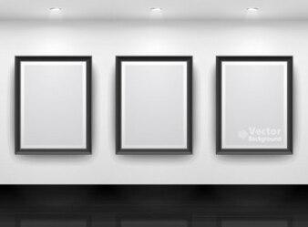 Bezpłatne srebrny kwadrat muzeum światło białe jasny wyświetlacz galeria wektora tle
