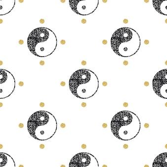 Bezszwowe czarne brokat yin yang z złotym punktem glitter wzór tła