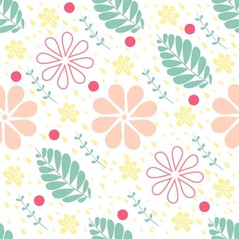 Bezszwowe kolorowe kwiatów z liśćmi i dot tło deseniu