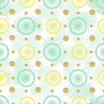 Bezszwowe owoce z złotym punktem glitter deseń na zielonym liście liści tła