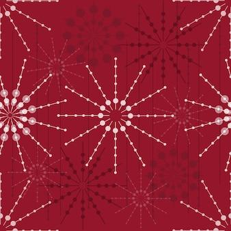 Bezszwowe wzór abstrakcyjna płatka śniegu na czerwonym tle