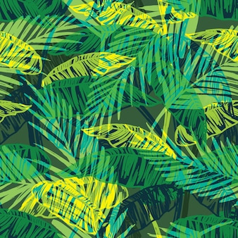 Bezszwowy egzotyczny wzór z liści palmowych.