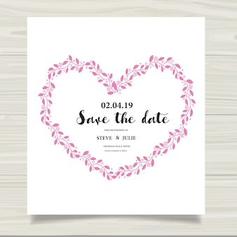 Biała karta ślubna z liści serca