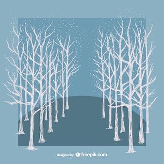 Białe drzewa zima wektor