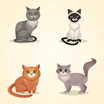 Białe szare i brązowe koty siedzą izolowane ilustracji wektorowych