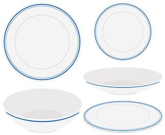 Białe talerze z niebieskim wykończeniem
