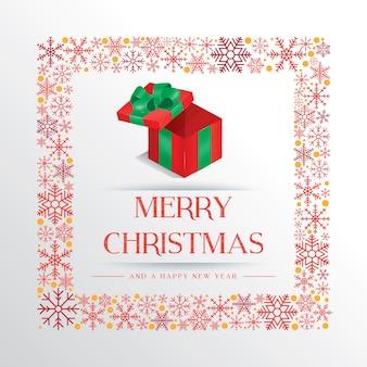 Bia? Ej Bo? E Narodzenie karty z pozdrowieniami z kolorowym pudełko i ramki płatka śniegu