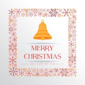 Bia? Ej Bo? E Narodzenie powitanie tle z Christmas dzwony i kolorowe ramki? Niegu