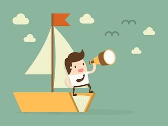 Biznesmen w łodzi