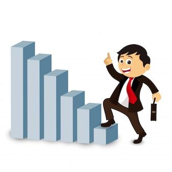 Biznesmen wspinaczka po schodach sukcesu.