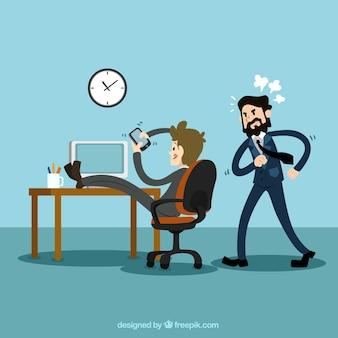 Biznesmen za pomocą telefonu komórkowego w pracy