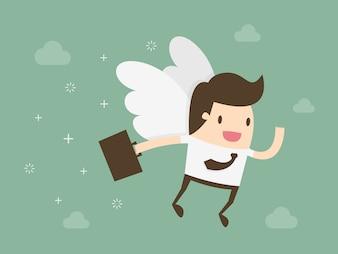 Biznesmen ze skrzydłami