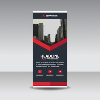 Black Red oszczędny roll up banner template