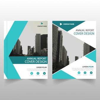 Blue streszczenie raport roczny szablon broszura pokrycie