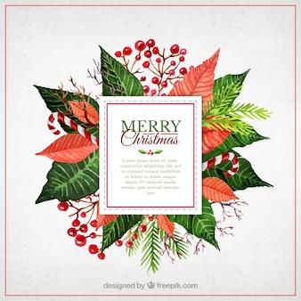 Boże Narodzenie akwarela kwiaty etykiety