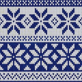 Boże Narodzenie bez szwu dziewiarskich nordic ilustracji w kolorze niebieskim
