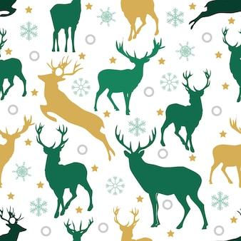 Boże Narodzenie bezszwowe wzór z reniferów i śniegu na białym tle
