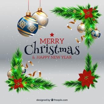 Boże Narodzenie i Nowy Rok w tle z bombkami