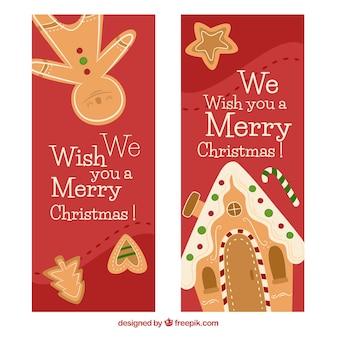 Boże Narodzenie pierniki ciasteczka sztandary