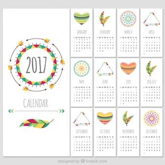 Boho styl szablon kalendarza 2017