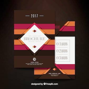 Brązowy broszura biznesowa z pasami