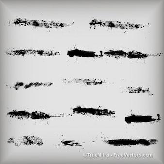 Brudne tekstury kresek tuszu szczotka czarna akwarela