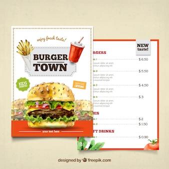 Burger akwarela menu