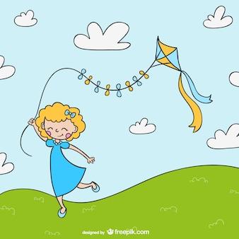 Cartoon dziewczyna z latawca