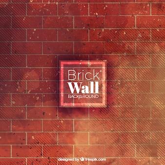 Ceglany mur, akwarela