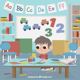 Chłopiec gra w klasy