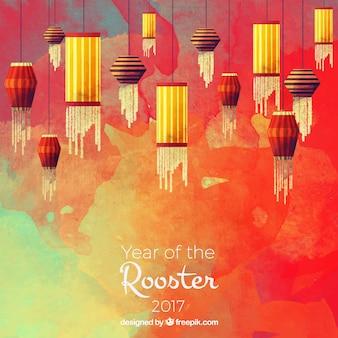 Chiński nowy rok tła akwarela z ozdobnymi latarniami