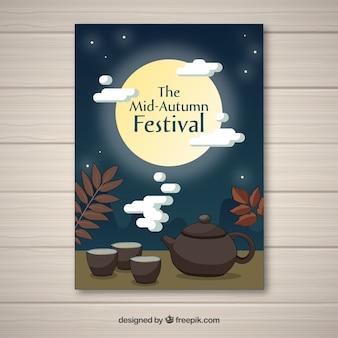 Chiński strona plakat z herbatą i nocnym niebie