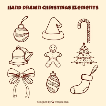 Christmas ozdoby z ręcznie narysowanego stylu