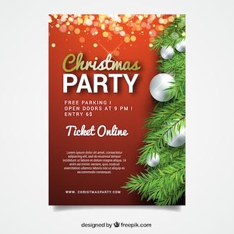 Christmas party plakat z drzewa i dekoracyjne kulki