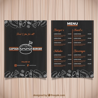 Ciemny burger menu