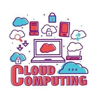 Cloud computing tło w płaskiej konstrukcji