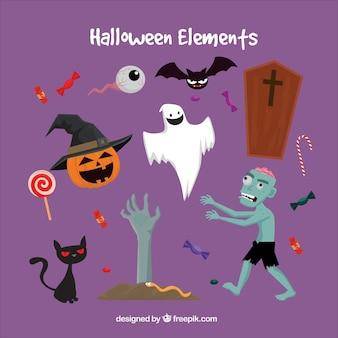 Creepy halloween przedmiotów