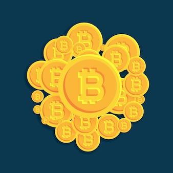 Crypto bitcoins waluty cyfrowej monet wektora tle
