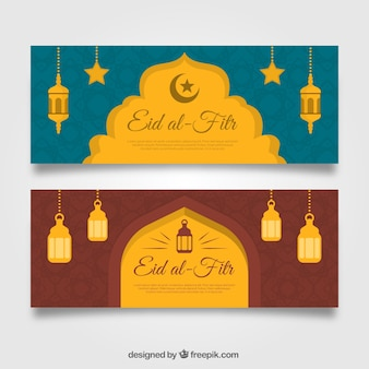 Cute eid al fitr transparenty z latarniami