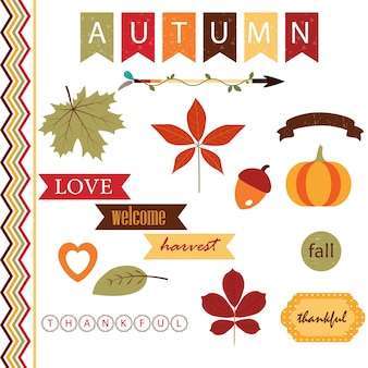 Cute kolekcji elementów jesienią