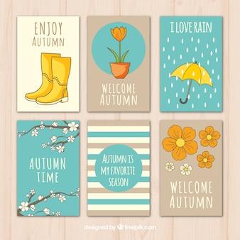 Cute kolekcji wyciągnąć rękę autumnal karty