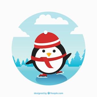 Cute penguin robi łyżwach