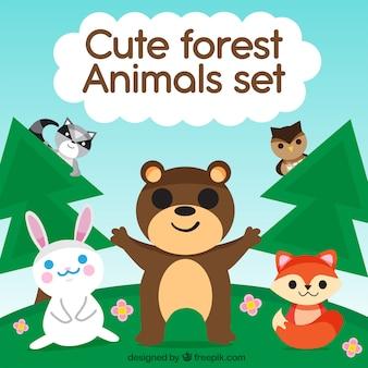 Cute zestaw zwierząt leśnych