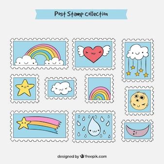 Cute znaczków z Nicei rysunków