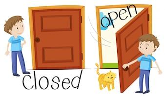 Człowiek przez zamknięte i otwarte drzwi