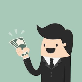 Człowiek z paczkę banknotów