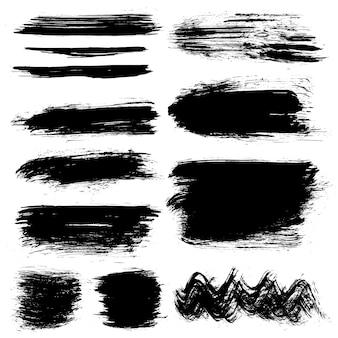 Czarne ręcznie malowane pociągnięcia pędzlem