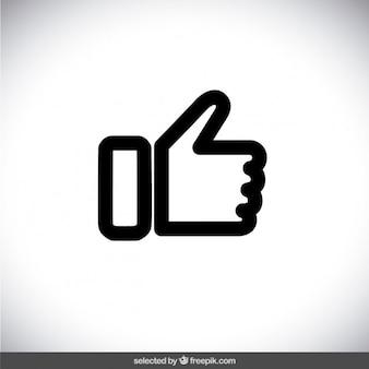 Czarny przedstawione kciuk w górę