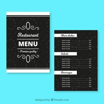 Czarny szablon menu restauracji