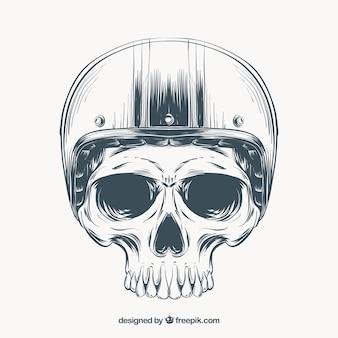 Czaszka szkieletu z kaskiem